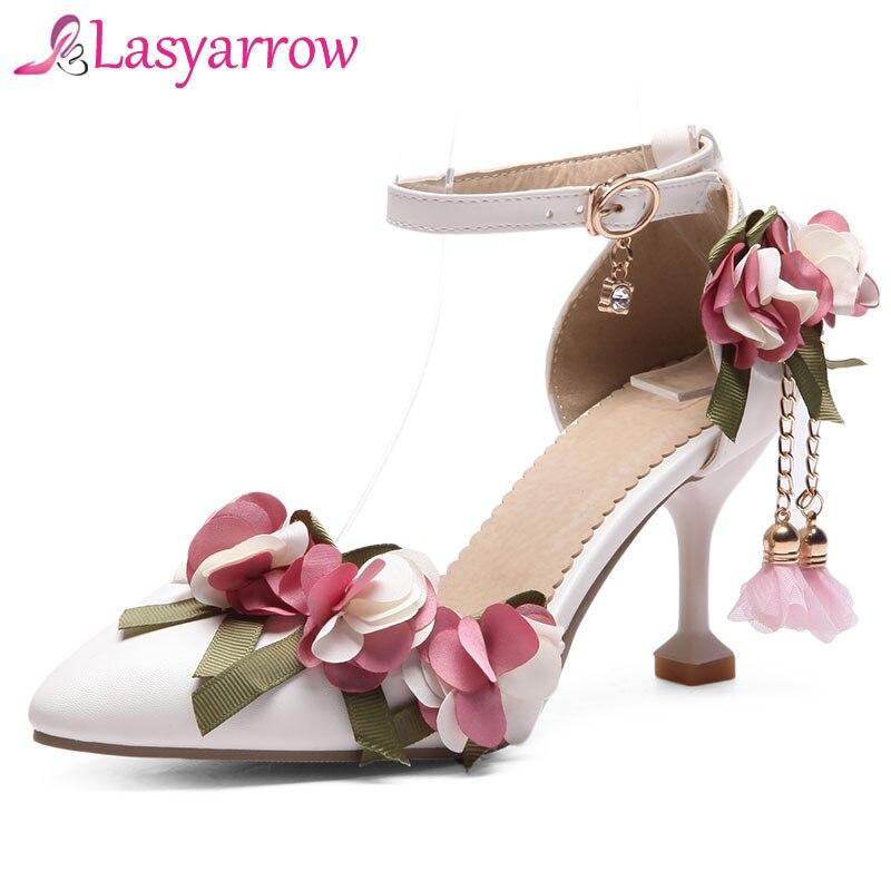 Lasyarrow/Женская обувь с ремешком на щиколотке милые модные свадебные туфли на шпильке с цветочным принтом обувь на высоком каблуке; Sapatos Mujer; цвет розовый, белый; RM303