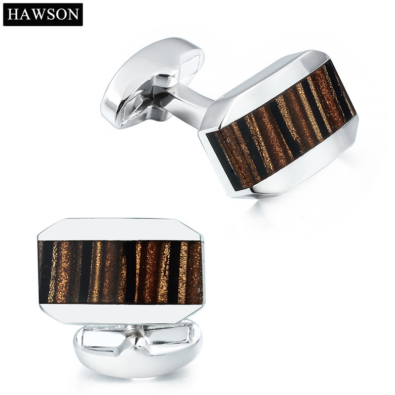 Luxury Natural Coffee Opal Cufflinks Square Cuff links Gifts for Mens Wedding
