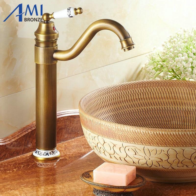 13 Antique Brass & Porcelain Faucets Kitchen Sink Bathroom Basin Brass Faucet Mixer Tap Swivel 98831AP kitchen faucets 360 swivel antique brass porcelain mixer tap bathroom basin antique faucet