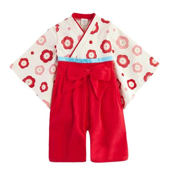 Japanese Baby Girl Toddler Red Kimono Romper Dress Skirt Onesie Jumpsuit 6-24 Months
