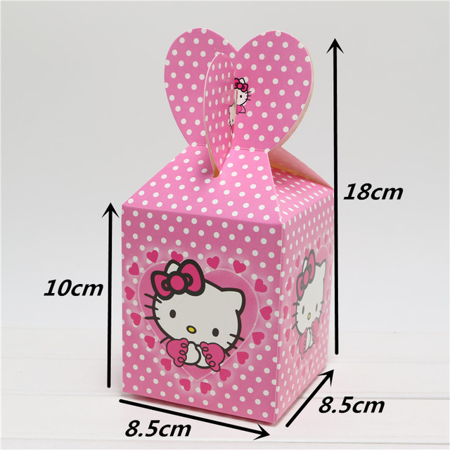 31231d981fd6 6pcs hello kitty theme party Candy Box Kids Birthday Party Decoration  Wedding Favors Paper Gift Boxes
