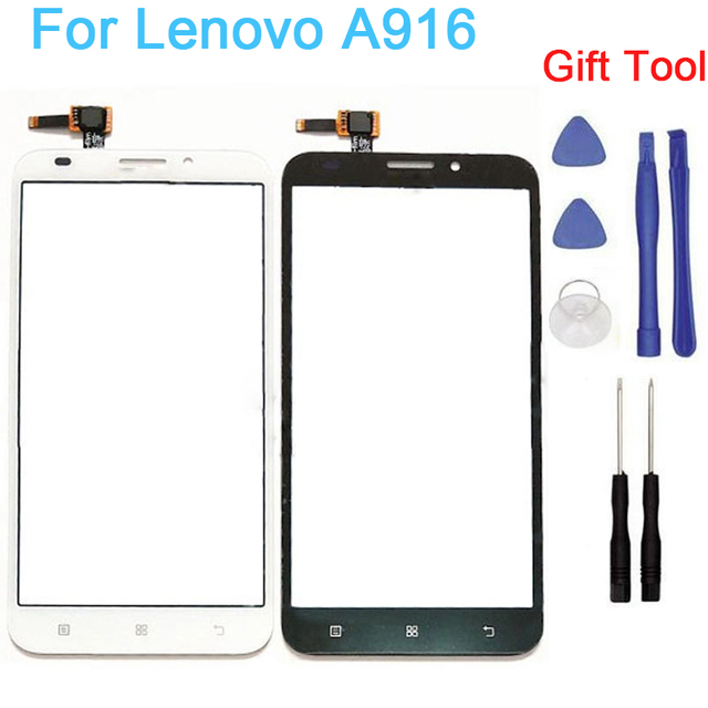 Touchscreen Sensor For lenovo A916 Touch Screen Glass Digitizer Front Touch Panel Replacement With Stickers Tool