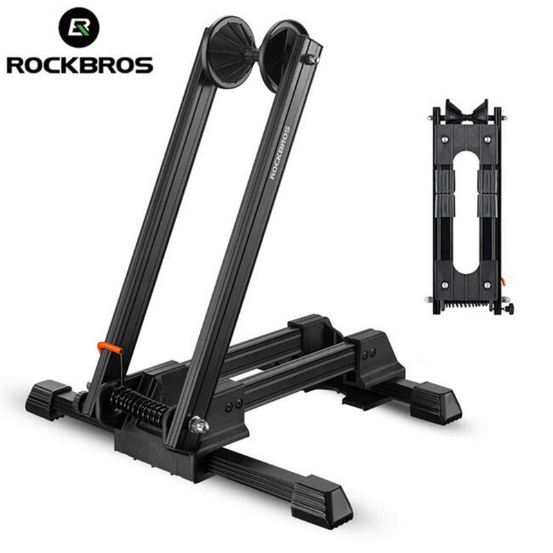 ROCKBROS Aluminum Alloy Bycle MTB Mountain Bike Parking Racks Portable Maintenance Support Frame Folding Display Repair Stand 17 inch mtb bike raw frame 26 aluminium alloy mountain bike frame bike suspension frame bicycle frame