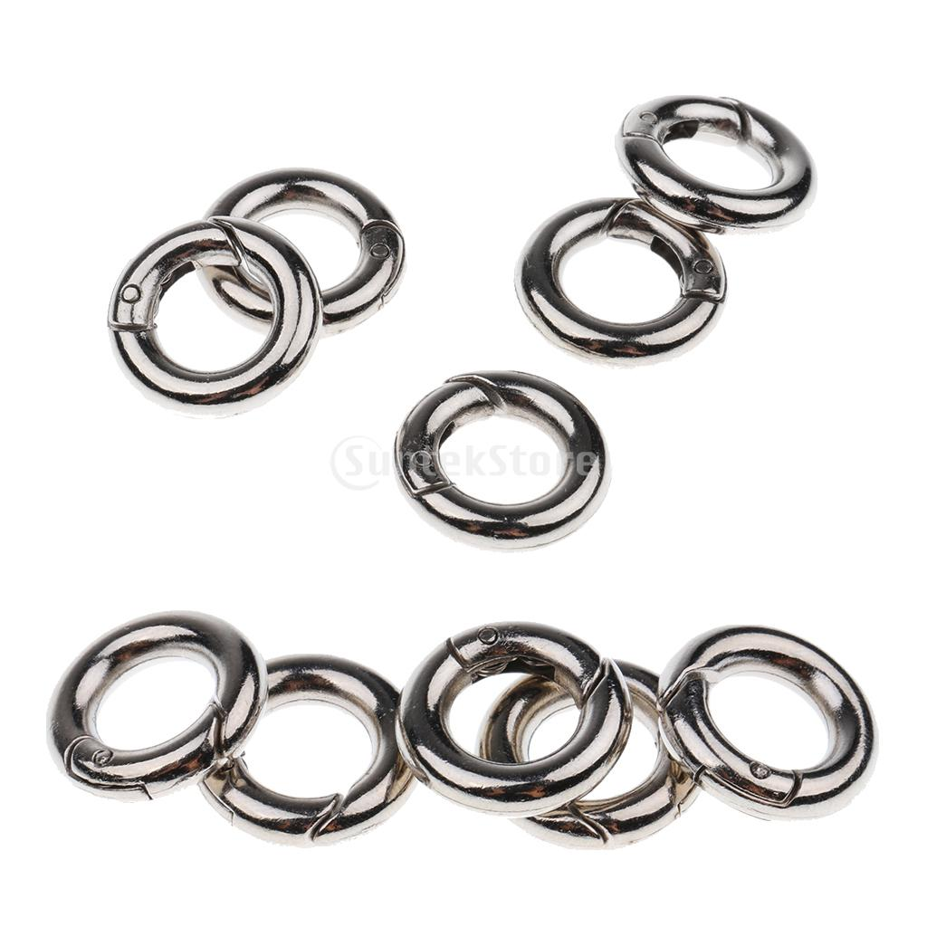 10pcs Zinc Alloy Round Spring Snap Open Hook Key Chain Carabiner 15mm + 20mm For Outdoors