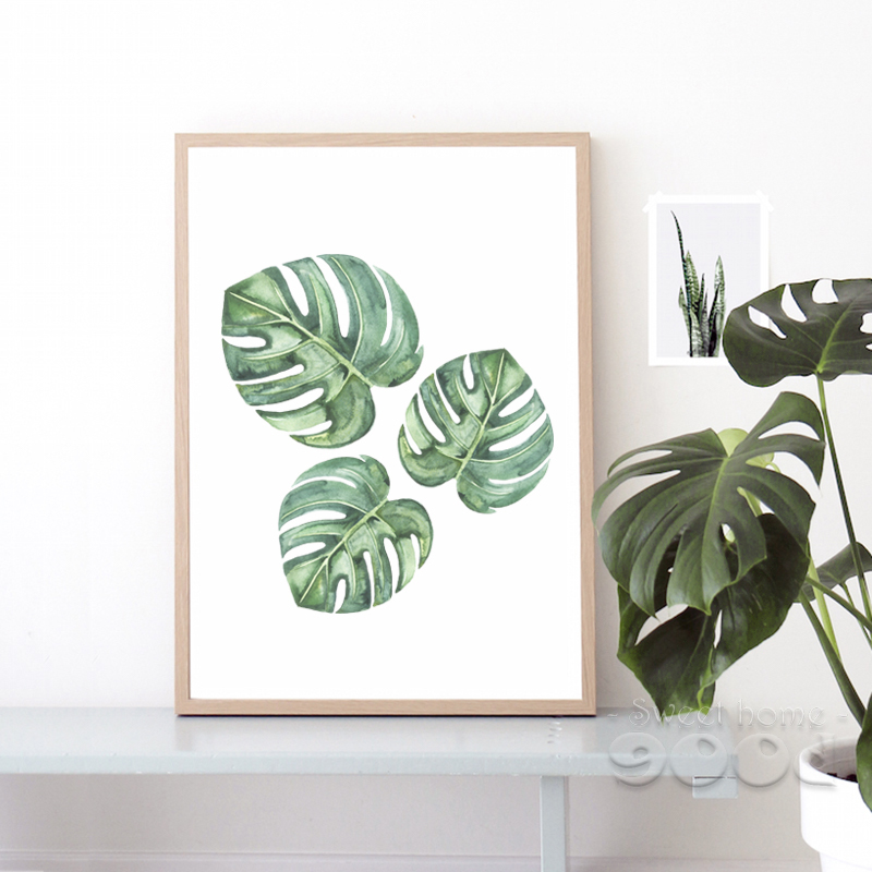 Watercolor Green Plants Monstera Nature Posters And Prints: Watercolor Tropical Plant Leaf Canvas Art Print Poster