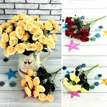High Quality 12 Heads Silk Fabric Artificial Rose Flower Bouquet For Wedding Party Home Decoration Gifts