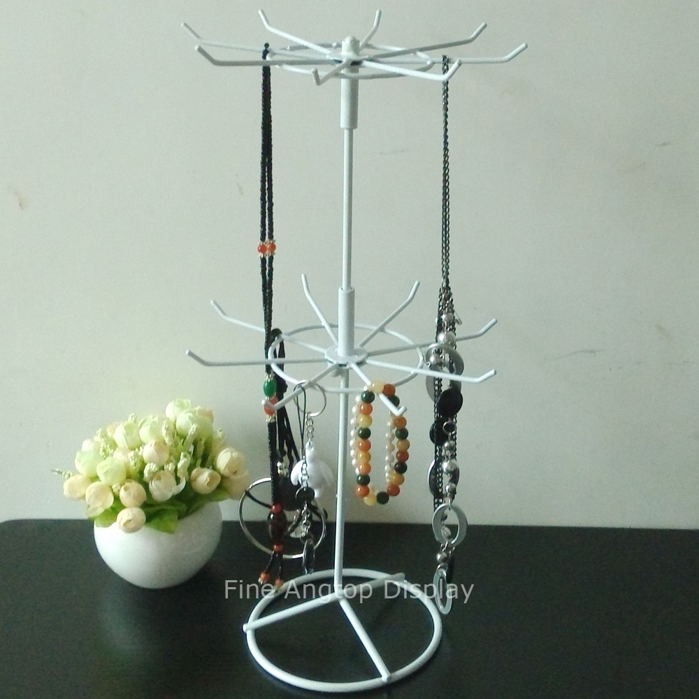Rotating Metal 2 Tiers Jewelry Necklace Bracelet Chains Keyring Display Rack