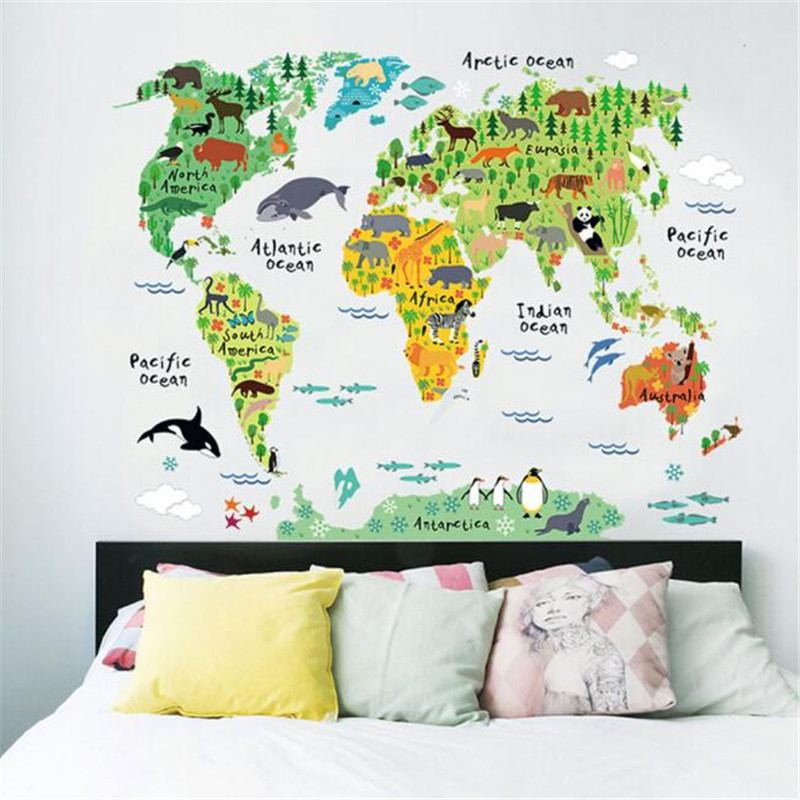 D Wall Stickers World Map Removable Decal Art Mural Home Decor - Vintage world map decal