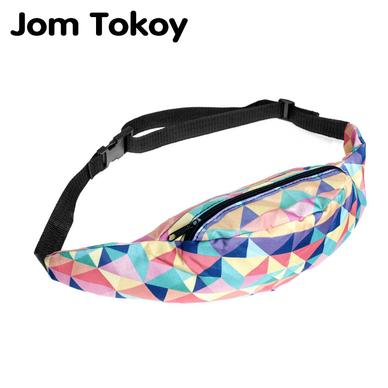 Jom Tokoy New 3D Colorful Waist Pack For Men Fanny Pack Style Bum Bag Color Geometry Women Money Belt Travelling Waist Bag