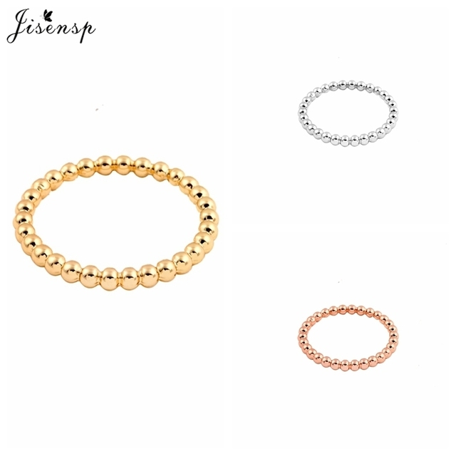 Jisensp Fashion Slim Stacking Beaded Rings Full Bead Wire Ring Simple Skinny Rin