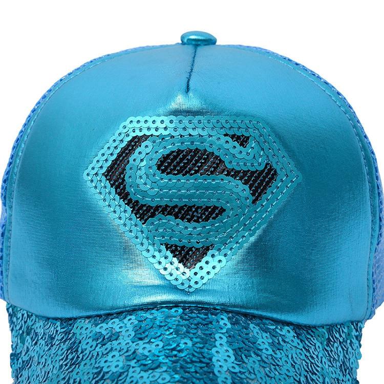 Nieuwe Stijlen Pailletten superman netto hoed Baseball Caps Zwart - Kledingaccessoires - Foto 2