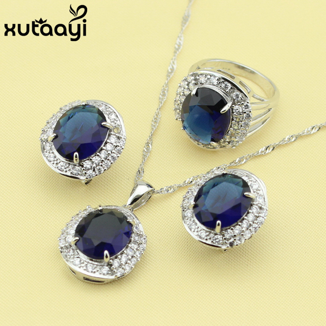 925 Silver Women S Fashion Jewelry Set Blue Zircon White Crystal Superb Ring Earrings Necklace Made In China