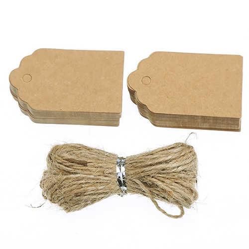 100pcs קראפט נייר תגיות עם יוטה פתילי DIY מתנות מלאכות מחיר מטען שם תגיות הודעה הערה מסיבת חתונת קישוט מתנה