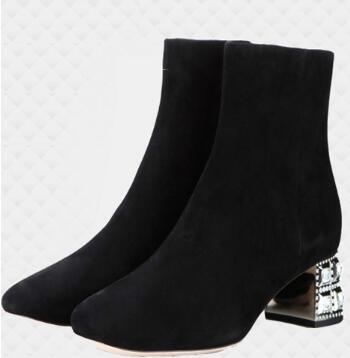 2018 new crystal chunky medium heel ankle boots for women Spring and fall suede leather short boots martin boots SIZE 34-40 british style suede and chunky heel design women s ankle boots