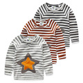 Small fresh 2017 spring autumn new arrival child girls boys t shirt star paragraph loop pile stripe long-sleeve T-shirts