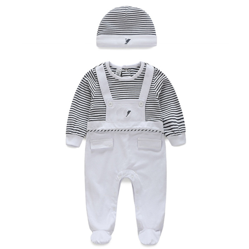 2018 Autumn New Born Baby Clothes Cotton Rompers for Infant Boys Baby Suit Hat 2Pcs Good Quality Comfort Baby Clothing Sets|Rompers| |  - title=