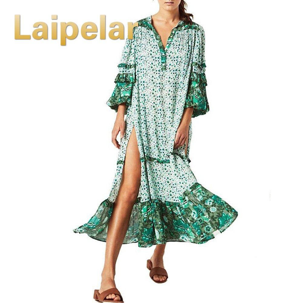 Laipelar Summer Print Boho Maxi Dress Loose Vintage Beach Long Dress ruffles sleeve African Ethnic Floral Casual Bohemian Dress