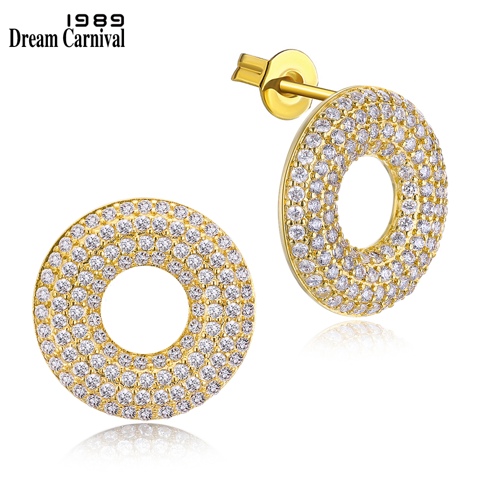 Dreamcarnival1989 New Donuts Hollow Stud Earrings For Women Classic Synthetic Cubic Zirconia Prong Setting Bridal Jewelry