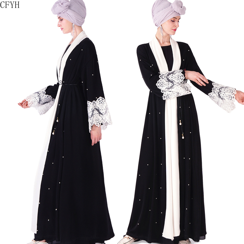 Adult Hollow Out Lace Embroidery Pearl Liene Robe Musulmane Turkish Abaya Muslim Dress Loose Robes Arab Worship Service 2019
