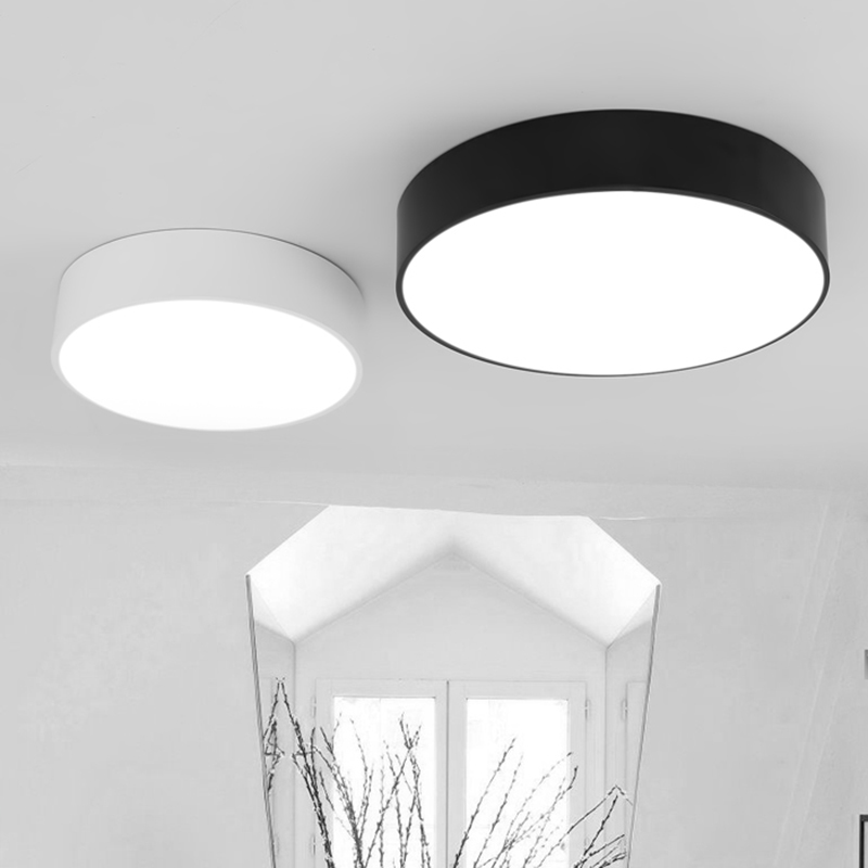 ФОТО round  iron LED ceiling light modern  living room ceiling lamp black/white home indoor lighting