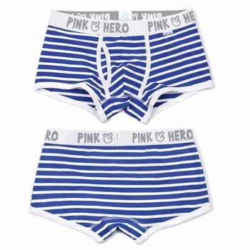 Hot 5pcs/Lot Pink Heroes High-Quality Cotton Underwear Men Boxer Shorts Classic Striped Male Underpants Comfortable U-bag