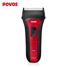 POVOS Wet/Dry Full Washable Single Head Rechargeable Men's Electric Shavers Razor Pop-up Trimmer Charge Red With Black PS2203
