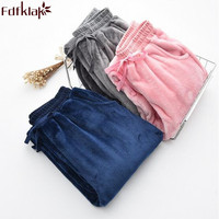 Fdfklak Women Sleep Bottoms Autumn Winter Couple Flannel Thicker Home Pants Pajamas Trousers 3 Styles Lounge