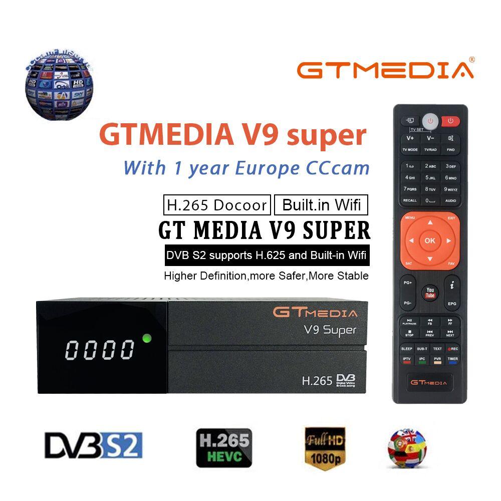 Meilleur 1080P DVB-S2 GTmedia V9 Super CCcam Cline espagne récepteur de télévision par Satellite même GTmedia V8 Nova Freesat V9 Super Europe CCcam 4