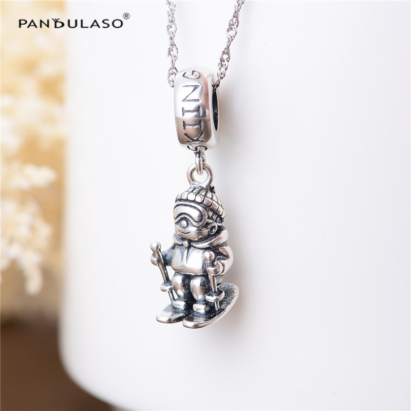 Pandulaso Skating Boy Sports Beads Fit Charms Silver 925 Original Bracelets Winter Dangle DIY Beads for Jewelry Making