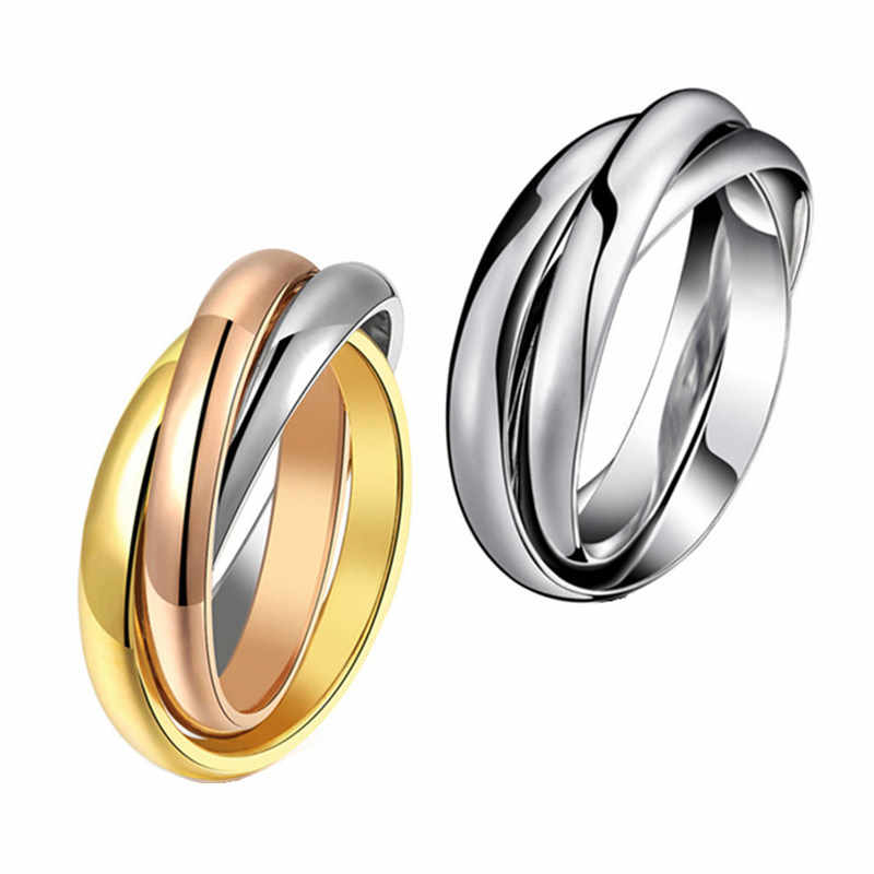 Yellow Rose Gold Silver Colors 3 Circles Finger Ring for Woman Man Wedding Jewelry 316L Stainless Steel High Polished