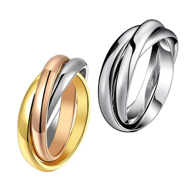 Yellow Rose Gold Silver Colors 3 Circles Finger Ring for Woman Man Wedding Jewel