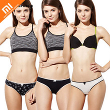 3pcs xiaomi mijia ladies underwear cotton Japanese and Korean low waist sexy thin lace side youth