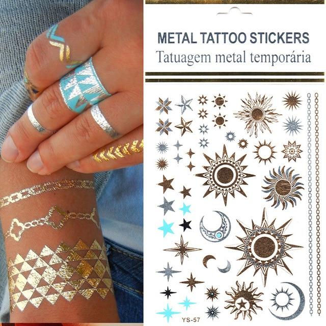 Fashionable 1pcs Lot Gold Silver 3d Sun Tattoos Stickers Flush Tatoo