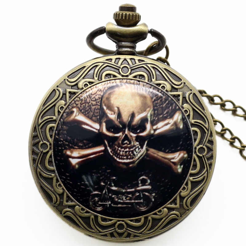 Chic Style Gothic Skull Pattern Bronze Quartz Pocket Watch Vintage Antique Fob Clock P1414 antique hollow carving horse quartz pocket watch steampunk bronze fob clock for men women gift item with necklace 2017