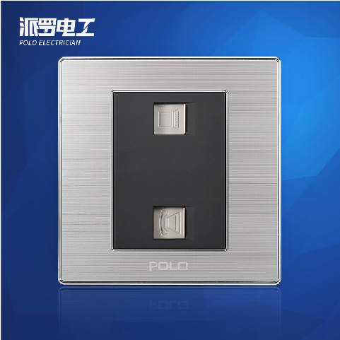 Free Shipping, POLO Luxury Wall Light Switch Panel, COM+TEL Socket, Champagne/Black, Electric Socket, 10A, 110~250V, 220V