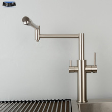 Double Function Kitchen Mixer Faucet With Drink Water Tap 100% Brass Black Hot & Cold Water Tap Double Handles Sink Faucet kitchen sink faucet with plumbing hose all around rotate swivel 2 function water outlet mixer tap faucet 5051