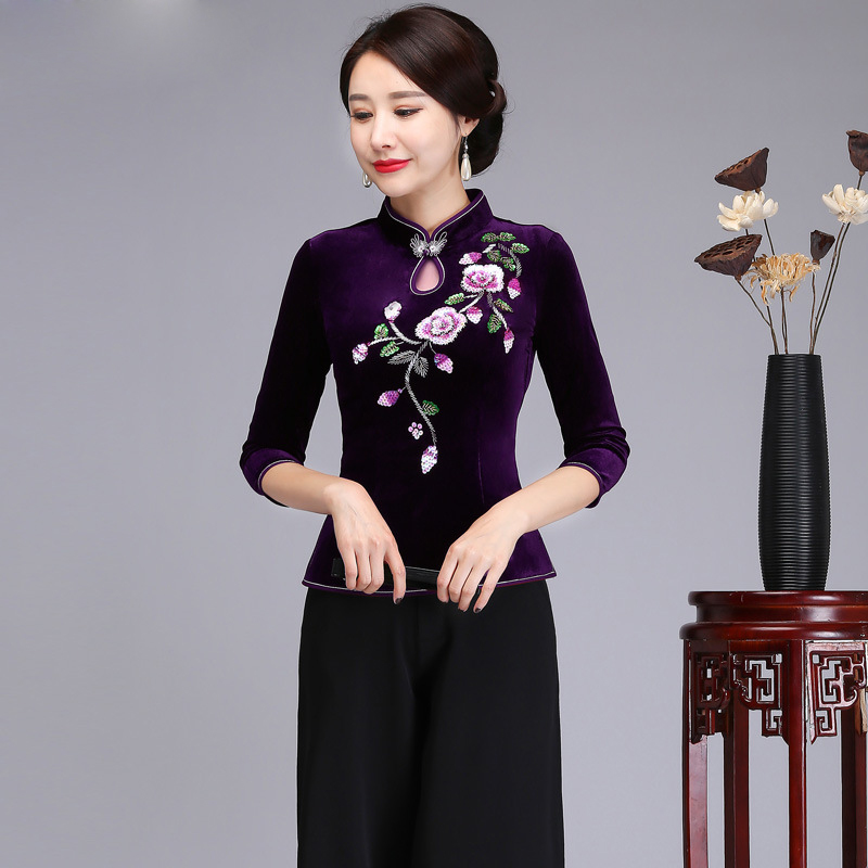 Violet chinois Vintage velours femmes chemise printemps été broderie fleur Blouse élégant Mandarin col vêtements M-4XL