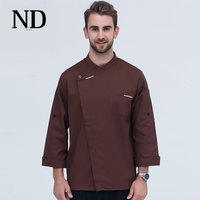 2017 New 5 Colors Unisex Breathable Chef T shirt Long Sleeves Jacket Hotel Restaurant Kitchen Cooking Wear Uniforms