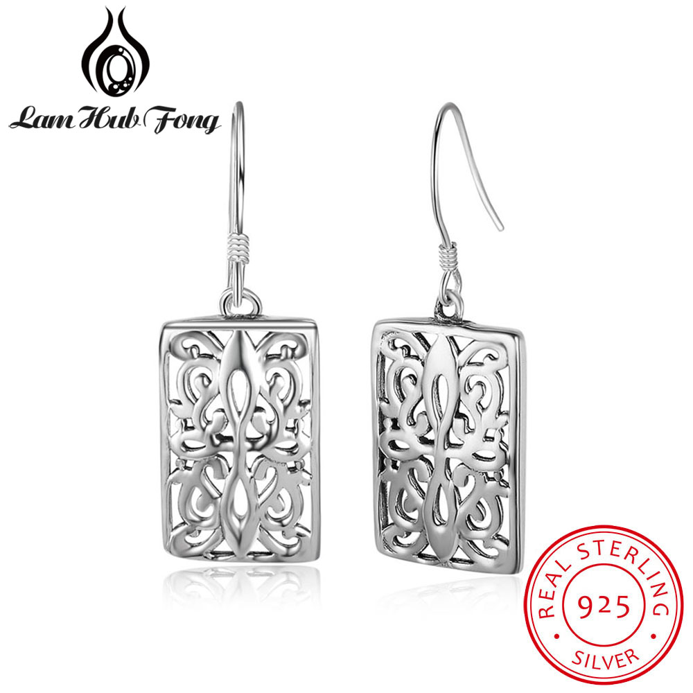 New 100% Real 925 Sterling Silver Flower Vine Dangle Earrings For Women Girls Hollow Out Drop Earring Brand Jewelry цены онлайн