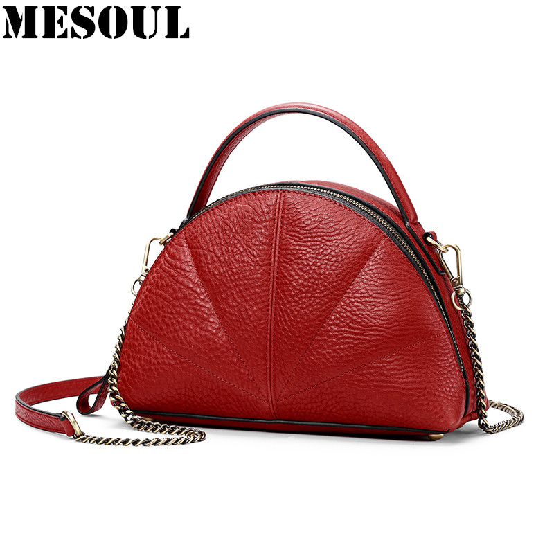 MESOUL Shell Women Bag 2017 Handbags Genuine Leather Bag Totes Ladies Crossbody Bags Small Mini Shoulder Bags For Female Bolsa fashion women leather handbags imperial crown small shell bag women messenger bag ladies shoulder crossbody bag clutches bolsa