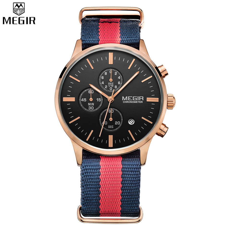MEGIR Famous Brand Rainbow Strap Men Watches Chronograph 6 Hands Auto Multifunction Watch Men Military Watch