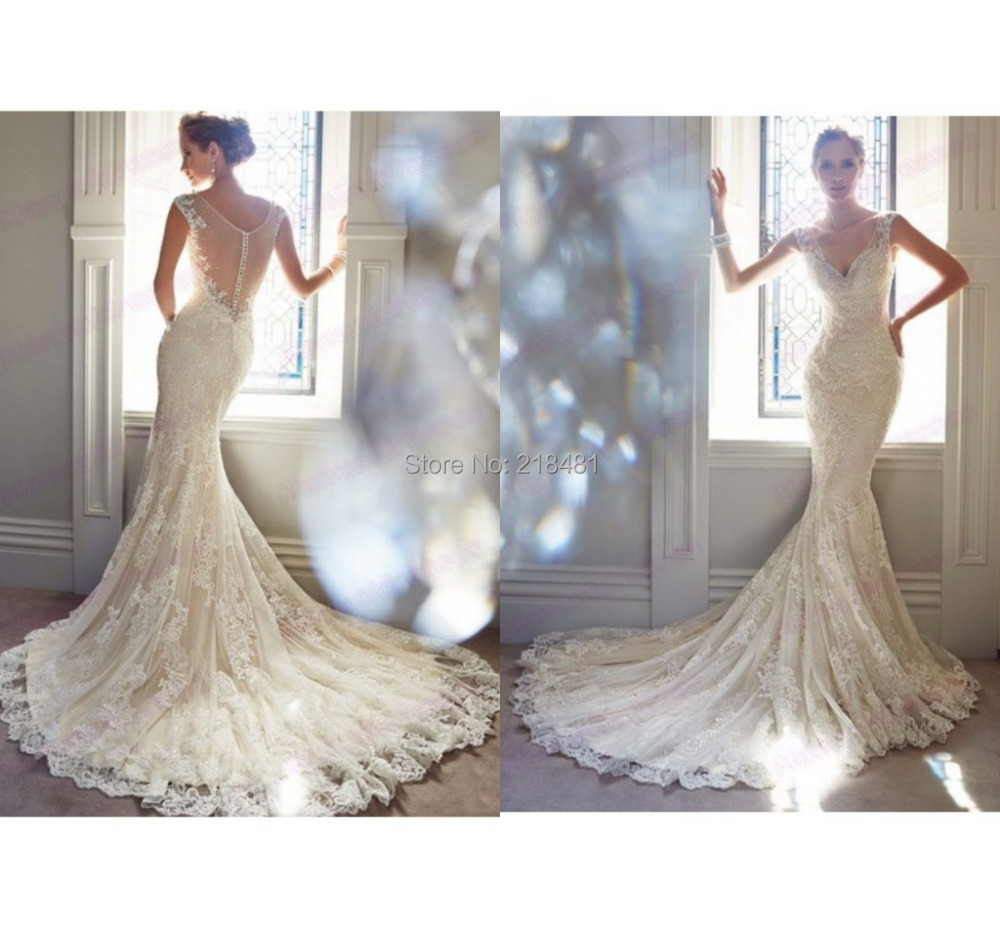 2016 mermaid wedding dresses summer luxurious julie vino beaded v neck lace gowns long train robe de mariage - Amy Boutique store