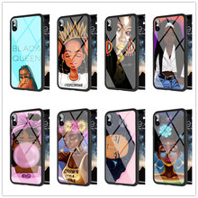 Stylish black girl Silicone Edge Tempered Glass Back Case for iPhone MAX XR XS X10 2bunz Melanin Poppin Aba for iPhone 5S 8plus
