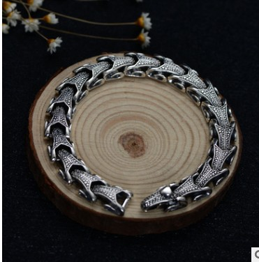 925 пробы серебро Винтаж тайские серебряные широкий тяжелый Ретро Для мужчин змея Браслеты 21,5 см