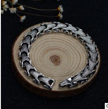 925 Sterling Silver Vintage Thai Argento Vasta Pesante Retrò Da Uomo Bracciali Snake 21.5 cm