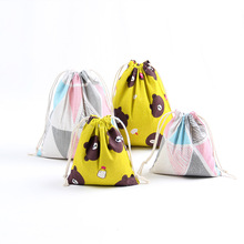 Printed Cotton Linen Drawstring Bag Girls Candy Packaging Bag Travel Storage Bear Portable Small Coin Purse
