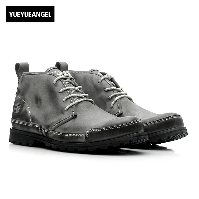 New Hot Sale Men Shoes Real Leather Lace Up For Men Motorcycle Boots Anti Skid Comfort Retro Ankle Boots Gray Free Shipping hot sale retro floral pattern denim neck tie for men