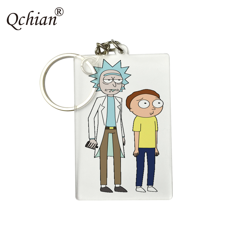 Anime Rick and Morty Aircraft Luggage Tag HD Picture Printed Series Pendant Transparent Acrylic Keychain  Logo Customization