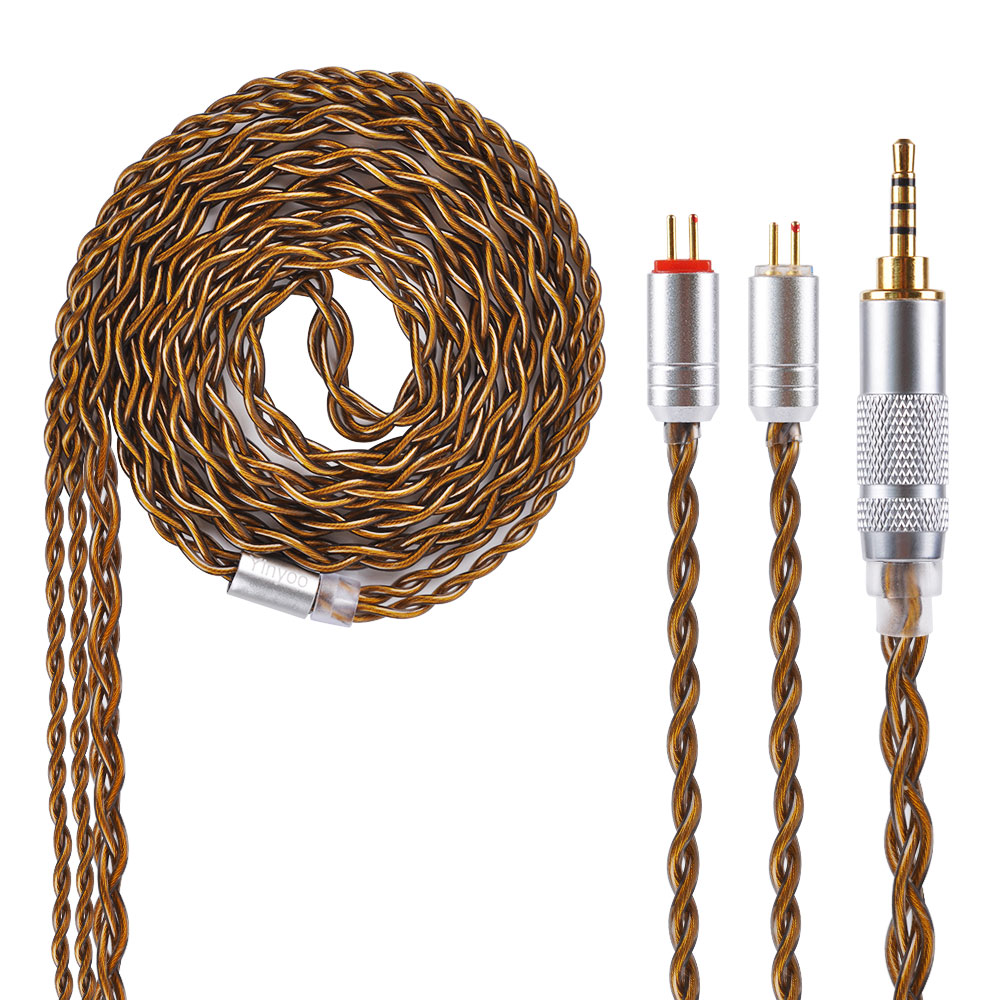 Yinyoo 4 Core Brown Pure Silver Cable 2.5/3.5/4.4mm Balanced Earphone Upgrade Cable With MMCX/2Pin yinyoo 4 core pure silver cable 2 5 3 5 4 4mm balanced earphone upgrade cable with mmcx 2pin