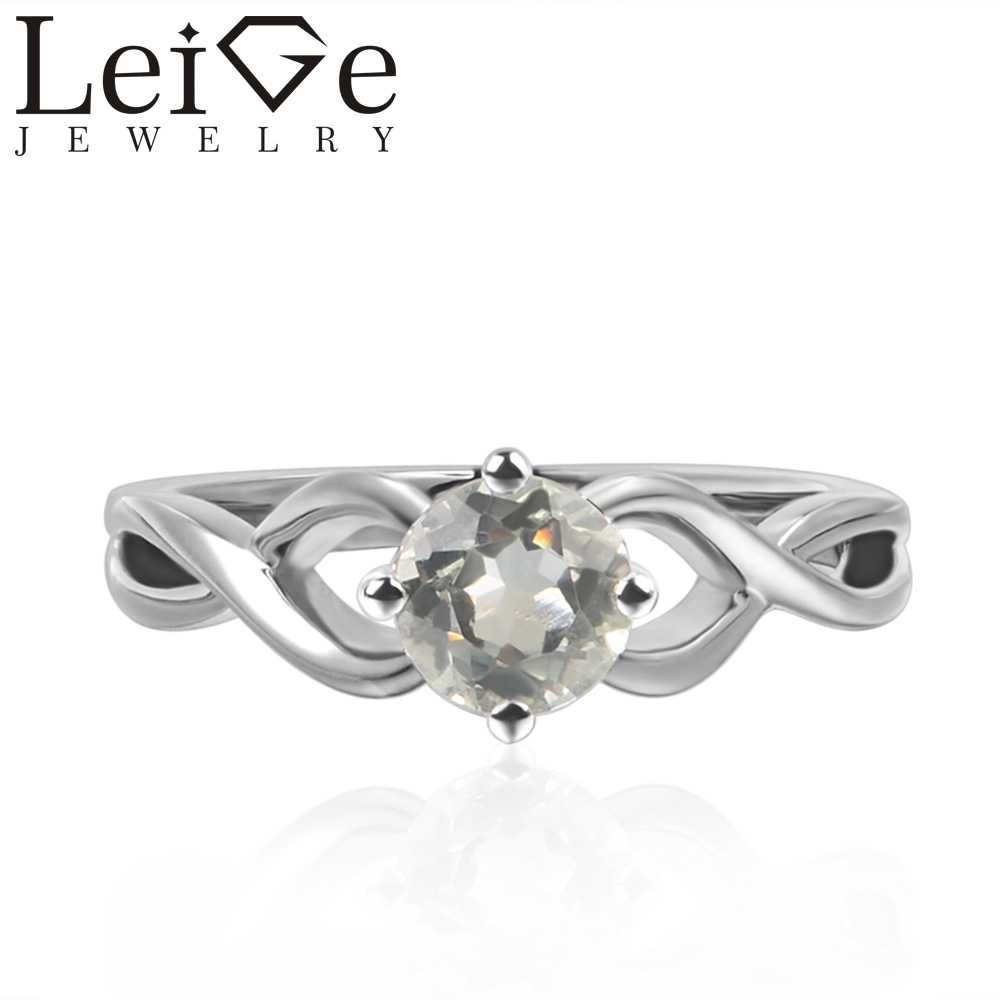 Leige Jewelry Round Cut Solitaire Real Green Amethyst Rings Wedding Rings for Women Sterling Silver 925 Green Gemstone цены онлайн